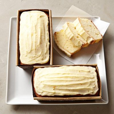 A shot with real looking frosting Sweet Things Orange Loaf Cakes #WilliamsSonoma
