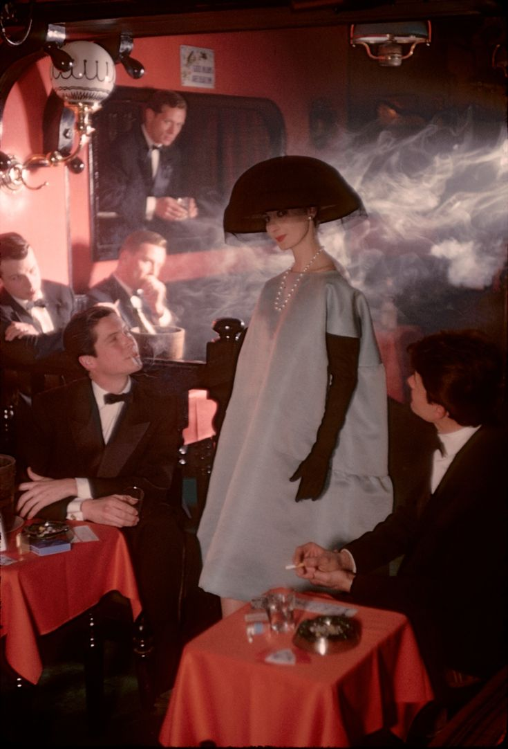 Frank Horvat. 1958, Paris, for Jardin des Modes, Givenchy dress at Crazy Horse Saloon