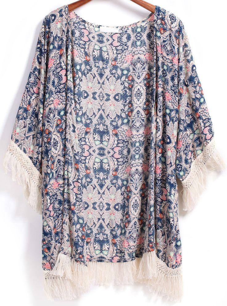 Blue Vintage Floral Loose Tassel Kimono