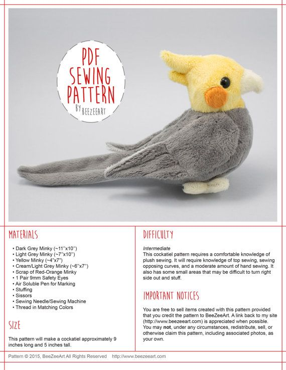 This cockatiel sewing pattern will help you create a cockatiel plushie of your very own. This stuffed animal sewing pattern is available instantly via