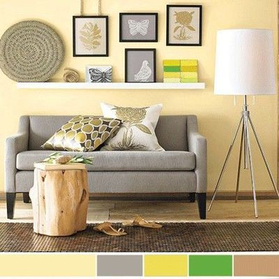 Interior Color Schemes Yellow Green Spring Decorating West ElmYellow Walls Living RoomPale WallsGrey
