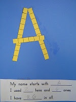 Make your name with ten and ones cubes. Place value.