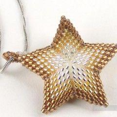 звезда из бисера - stjerne i sølv-lys guld-guldbrun