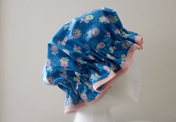 GIRLS Handmade Laminated Cotton Shower Cap.  PVC FREE. Made by PureHaven, $22.99