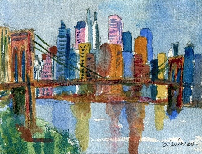 This fine art print of New York city skyline pictures the Brooklyn Bridge in watercolor painted by artist Miriam Schulman. Enhance your home decor with artistic New York prints of the urban landscape.
