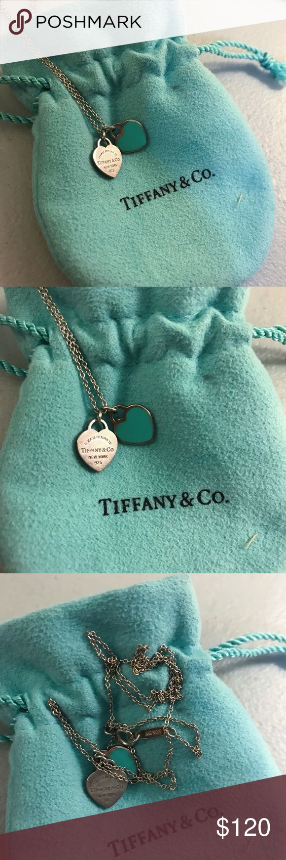 "18 Super Cute Diy Valentines Crafts For Kids: Tiffany's Mini Double Heart Necklace 18"" Blue Super Cute"