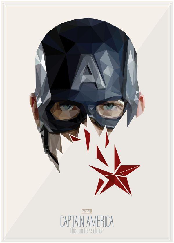Designer Uses Geometric Shapes To Form Striking Portraits Of Iconic Superheroes - DesignTAXI.com