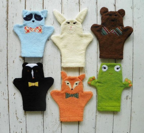 Woodland Creatures Terry Cloth Bath MittsSet of 6 by busybonniebee, $55.00