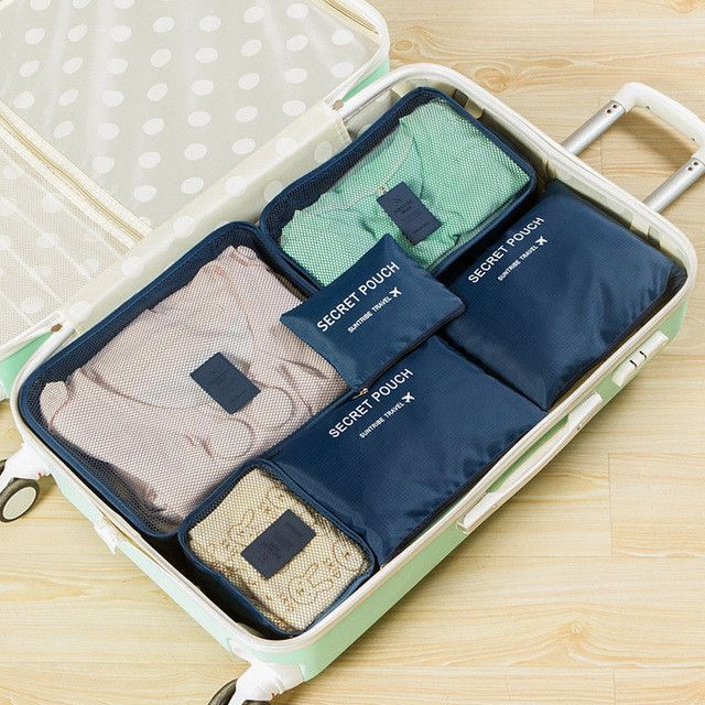 Travel Luggage Organizer 6 Piece Packing Compartmental Bags