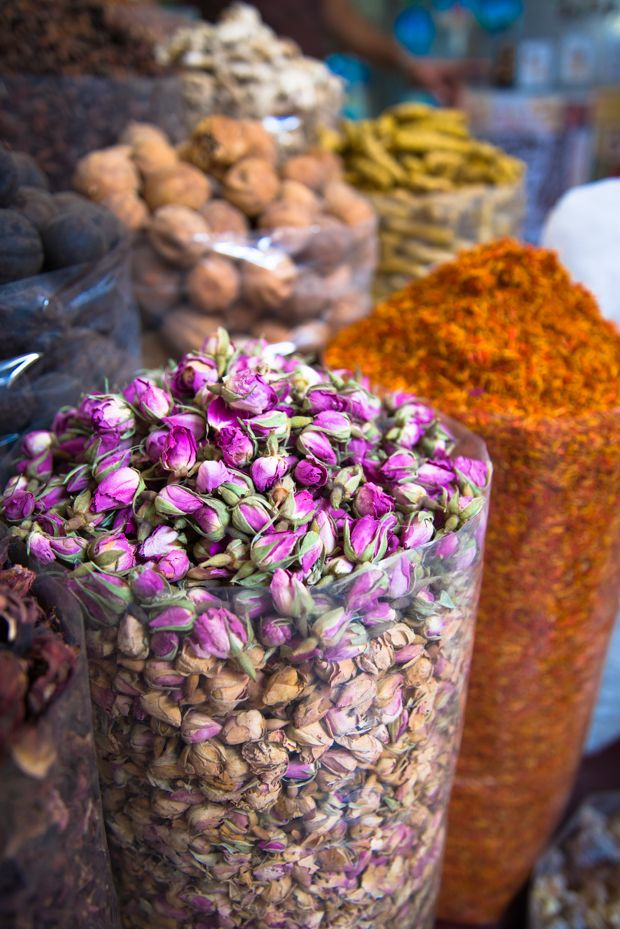 Dried flowers and spices can be found at the souks in Dubai.
