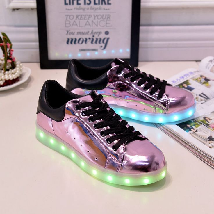 Women Men LED Light Lace Up Luminous Sportswear Sneaker Luminous Shoes #Unbranded #CasualShoes