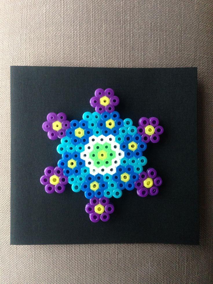 Bursdagskort dekorert med Hama perler / beads.