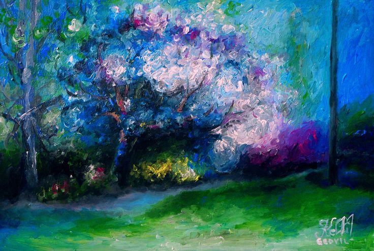 Cherry Tree Acrylics on wood 48 x 32 cm  March, 2011