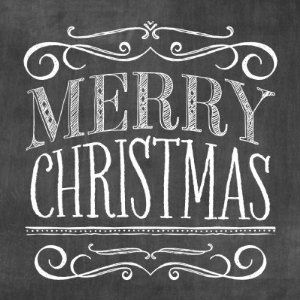 Vintage Chalkboard Lettering Merry Christmas Stamp -- I like the scrollwork at the top and bottom! Remembering that!