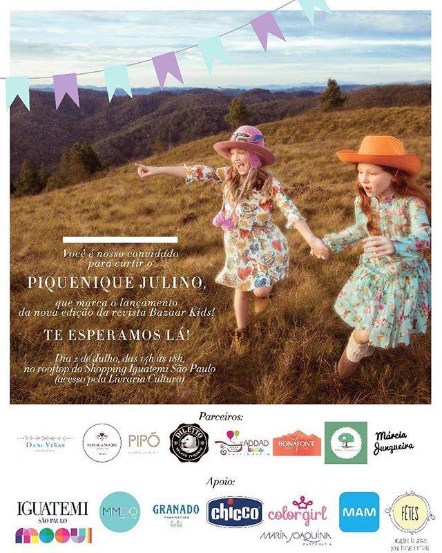 A nova edição da revista @bazaarkids está linda  e para comemorar o seu lançamento no dia 2 de julho tem festa no Rooftop do @iguatemisp na Av. Faria Lima (acesso pela Livraria Cultura). O evento acontece das 14h às 18h não perca!  via HARPER'S BAZAAR BRAZIL MAGAZINE OFFICIAL INSTAGRAM - Fashion Campaigns  Haute Couture  Advertising  Editorial Photography  Magazine Cover Designs  Supermodels  Runway Models
