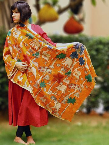 Orange Handpainted Kalamkari Chanderi Dupatta