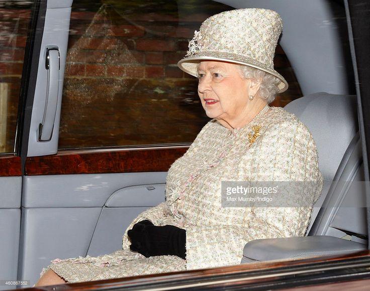 Queen Elizabeth II leaves St. Mary Magdalene Church, Sandringham after attending Sunday service on December 28, 2014 in King's Lynn, England.