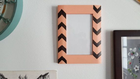 Coral Chevron Picture Frame by HelloGingerCrafts on Etsy