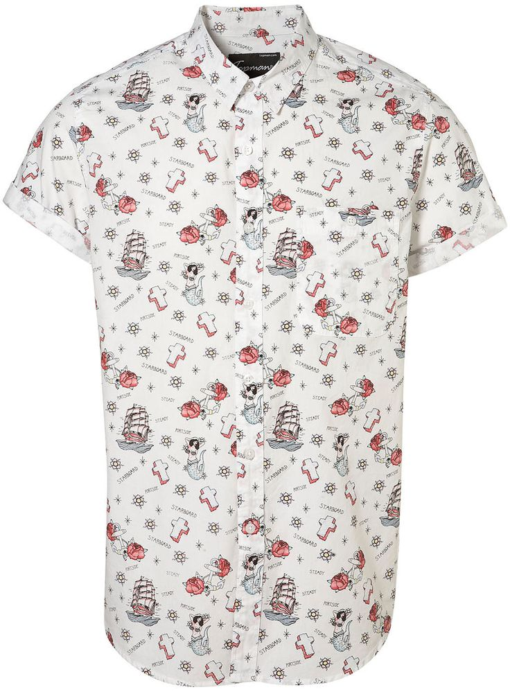 Button up short sleeve shirt with fun print. Need more of these.