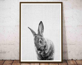 Konijn Print Woodlands kwekerij kunst konijn Wall door LILAxLOLA