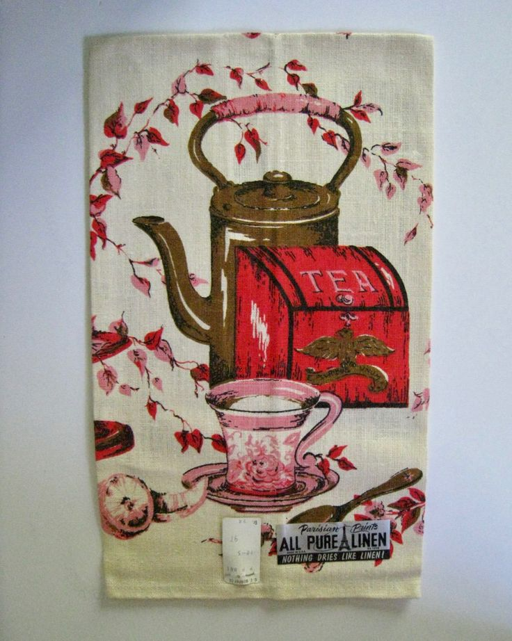 vintage linen tea towel. New Old Stock with tags. Red, Pink, Brown tea caddy, teapot, teacup motifs. Colonial retro kitchen decor. by PickleladyVintage on Etsy