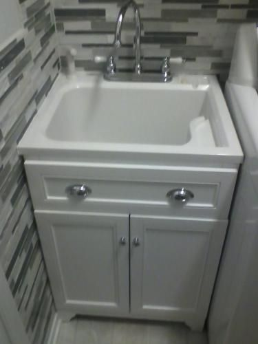 Keats 24 in. Laundry Vanity in White and ABS Sink in White and Faucet ...