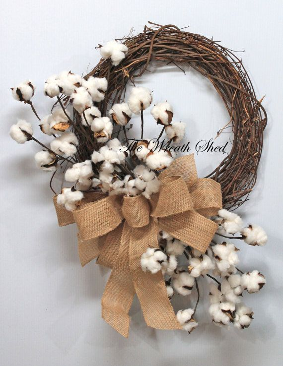 Natural Cotton Wreath, Cotton Boll Wreath, Natural Cotton Bolls, 2nd Anniversary Gift, Southern Decor, Burlap Bow, Country Primitive Decor