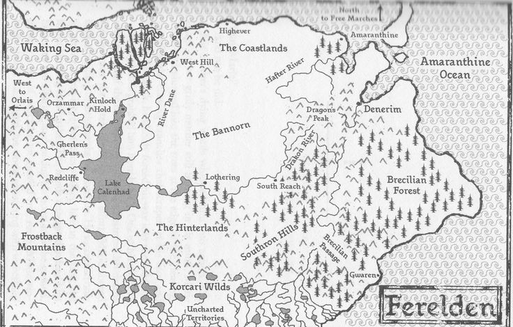 Dragon Age   RPG   Fantasy Map   To see the Ferelden RP forum, go here: http://chroniclesofthedas.draebox.com/forum-6.html   A kingdom in southeastern Thedas, it was conquered by Orlais a century ago, when King Darlan ruled, but was freed through the efforts of King Maric Theirin, grandson of King Brandel. Maric's bastard son, King Alistair Theirin, is the current monarch.