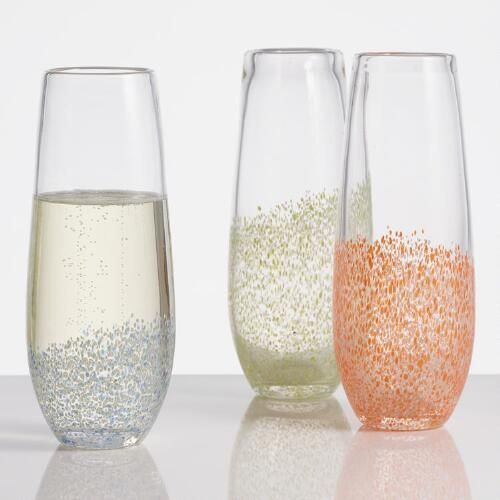 One of my favorite discoveries at WorldMarket.com: Confetti Stemless Champagne Flutes