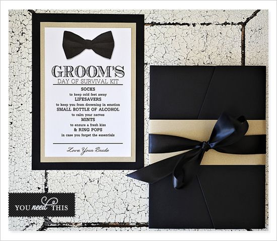 Day Of Wedding Gifts For The Bride : ... Day survival kit. Cute gift idea from bride to groom for the big day
