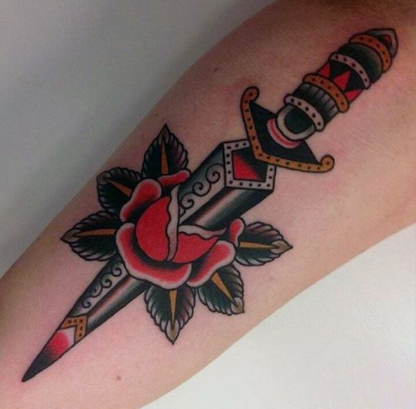 Decorative Traditional Dagger Mens Rose Arm Tattoos
