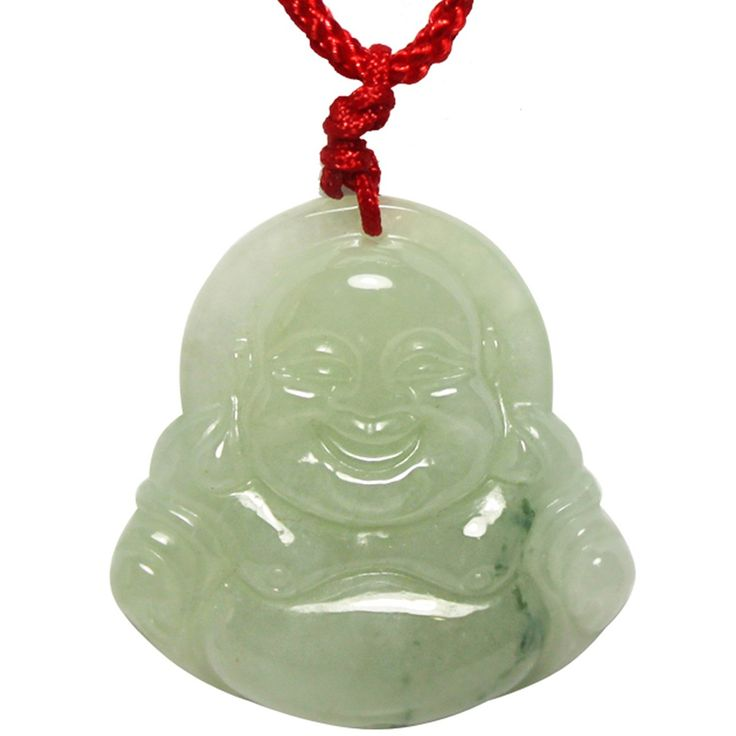 Jadeite Jade Hand Carved Buddha Pendant Necklace: