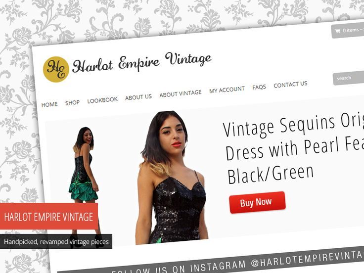 """""""I got raving reviews from all my friends about the site! It's such a good job. They will certainly come to you if they need this done in the future."""" Pamela Sakr, Harlot Empire Vintage. Check out their website - http://www.studio72.com.au/portfolio-item/harlot-empire-vintage/"""
