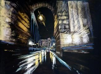 Éjszakai rohanás, pasztel festmény, 50x70cm, magántulajdon, éjszakai Budapest, Láchíd