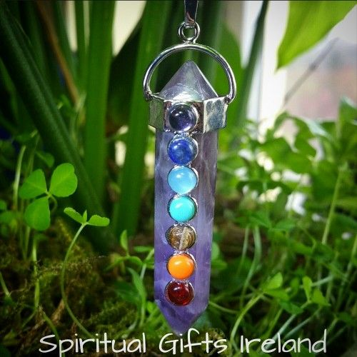 Abigail Chakra Pendant Amethyst Visit our store at www.spiritualgiftsireland.com  Follow Spiritual Gifts Ireland on www.facebook.com/spiritualgiftsireland www.instagram.com/spiritualgiftsireland www.etsy.com/shop/spiritualgiftireland We are also featured on Tumblr  These stunning chakra wand pendants are called after Abigail, a woman known biblically for her inner strength and courage as she protected her family from an impending battle. 👑 Her actions were taken from a place of generosity…