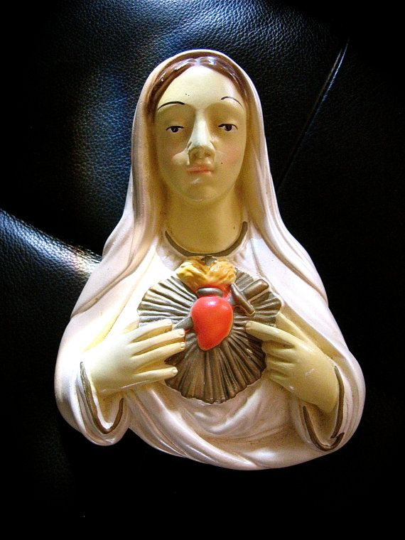 Vintage VRGIN MARY Sacred Heart Chalkware plaque-  Perfect for your Religious Collection