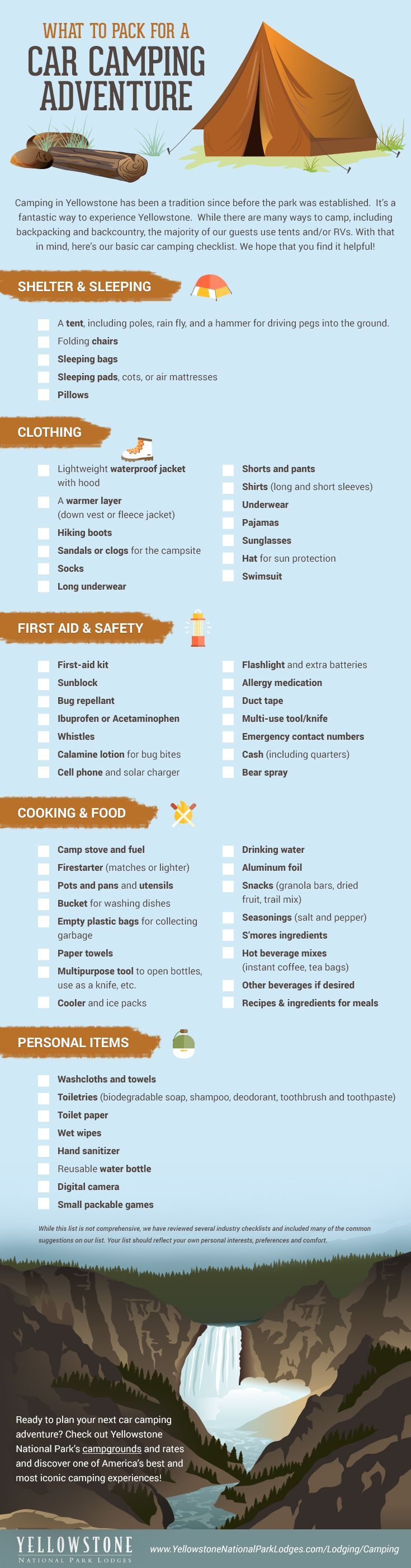 Camping in Yellowstone has been a tradition since before the park was established, and it's a fantastic way to experience Yellowstone! With that in mind, here's our basic car camping checklist!