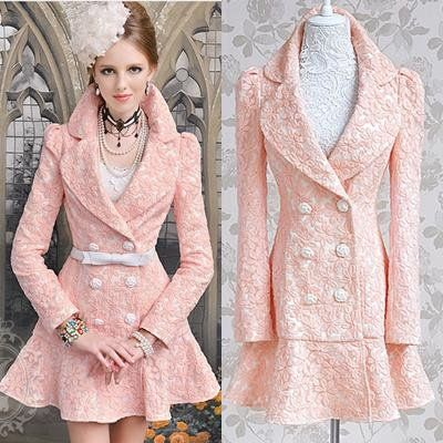 Free shipping pink ruffles button double breasted full sleeve ladies slim floral long blazer coat trench autumn new fashion 2013 on AliExpress.com. $56.99
