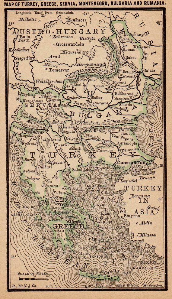 Antique TURKEY Greece RUMANIA Map Vintage 1886 MINIATURE Map  Plaindealing 2246