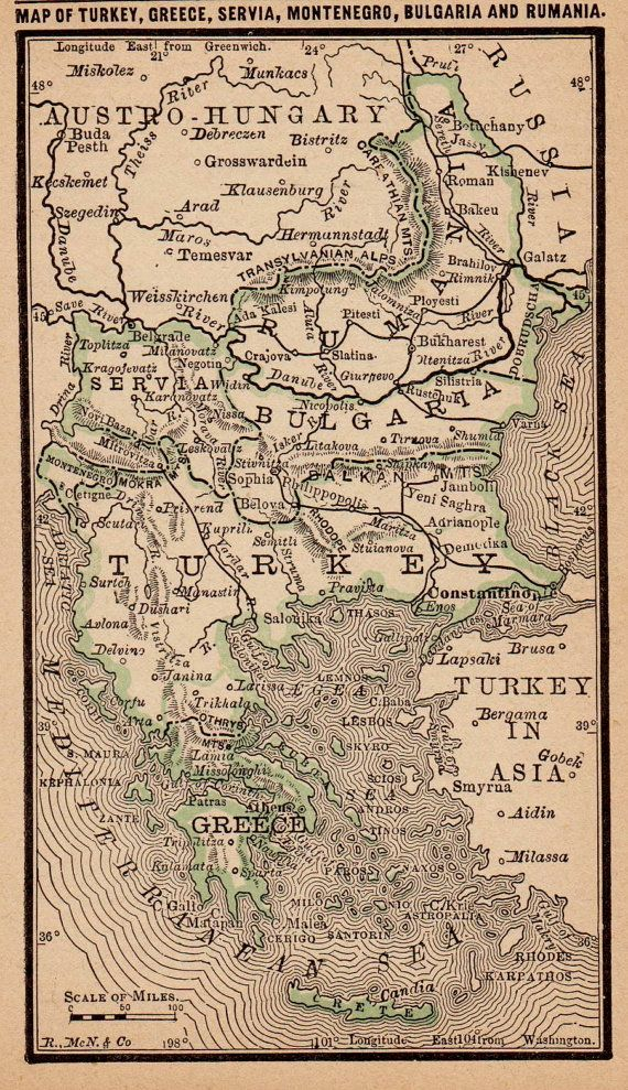 Antique TURKEY Greece RUMANIA Map Vintage 1886 MINIATURE Map  Plaindealing 2246