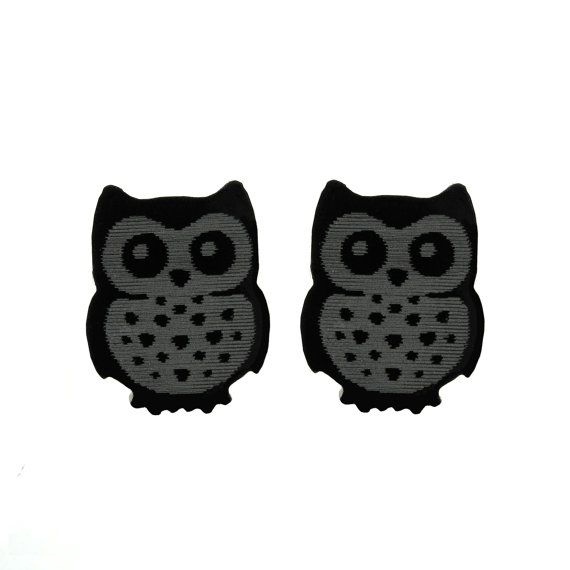 Black Owls stud earrings. Very light and funny little by XOOXOO