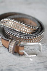 """B-Belt - Belt Taupe - Round & Plate Rivets"" at Biskopsgårdens Webbshop (biskopsgarden.com). Leather belt from German B-Belt with rivets. Taupfärgat leather with round and flat silver rivets. 25 mm wide. Price: $1,295.00 (might not actually be in dollars)"