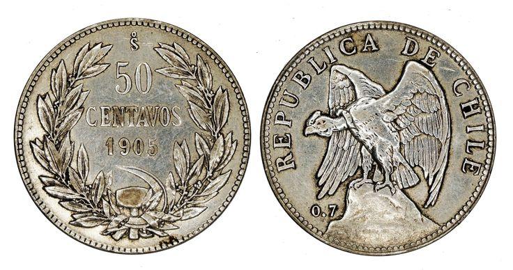https://flic.kr/p/Rb8rCv   50 Centavos 1905 So Chile   0.7 Silver Mintage: 1.075.000 Designer: Oscar Roty (FR)