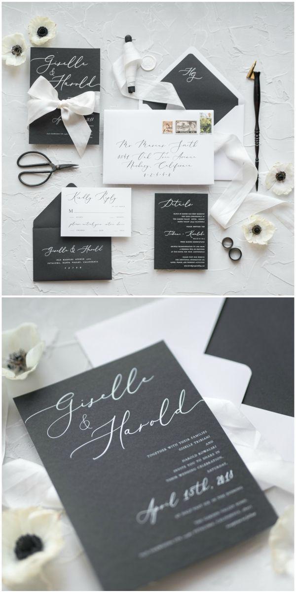 Elegant Black White Calligraphy Wedding Invitation With Silk Ribbon Wedd Calligraphy Wedding Invitation Modern Wedding Invitations Black Wedding Invitations