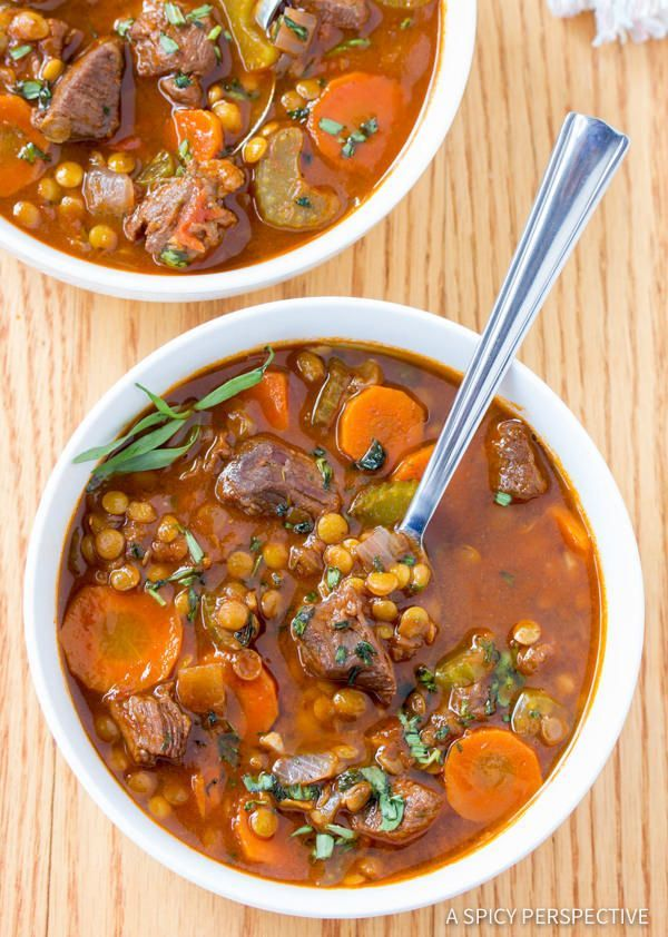 A rich and hearty Beef and Lentil Stew Recipe full of healthy ingredients. This nourishing stew is a perfect family meal for cold winter evenings. Beef and