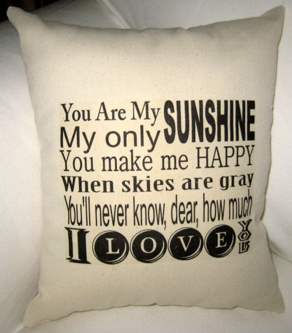 You Are My Sunshine Pillow Baby Room by frenchcountrydesigns, $17.79