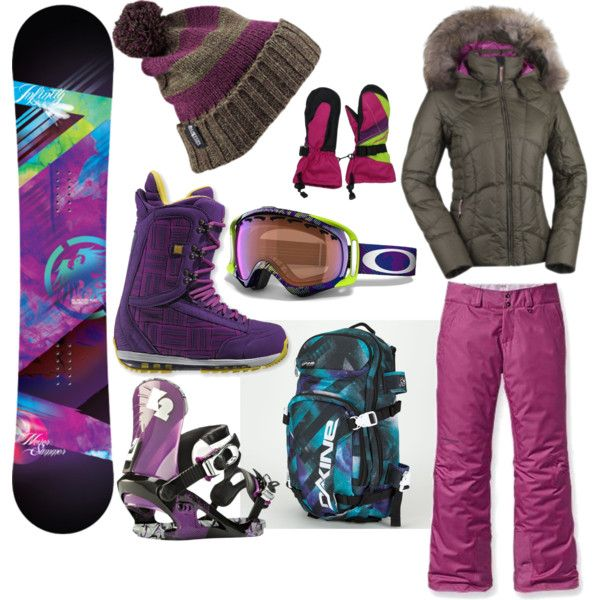 Snowboarding Gear. Love snowboarding!! ♥ Can't wait to take lessons, I think it is finally warm enough out.