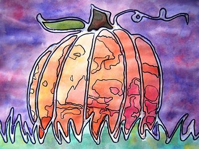 Draw pumpkin, grass in pencil.  Trace all lines with glue.  Next art class glue will be dry.  Watercolor page with splotchy painting.  When dry, trace over glue lines and splotches with sharpie.