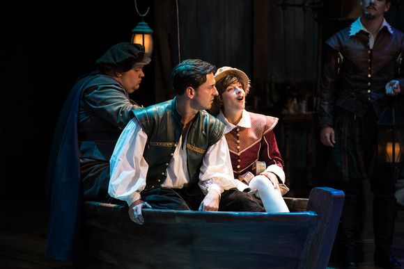 Redge Palmer (left) as Boatman, Quinn Mattfeld as Will Shakespeare, and Betsy Mugavero as Viola de Lesseps in the Utah Shakespeare Festival's 2017 production of Shakespeare in Love. (Photo by Karl Hugh. Copyright Utah Shakespeare Festival 2017.) Press organizations may request a password to download high-resolution photos: email guestservices@bard.org.