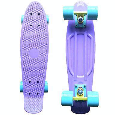 klassieke plastic skateboard (22 inch) cruiser board pastel paars met pastel blauw wielen – EUR € 34.29